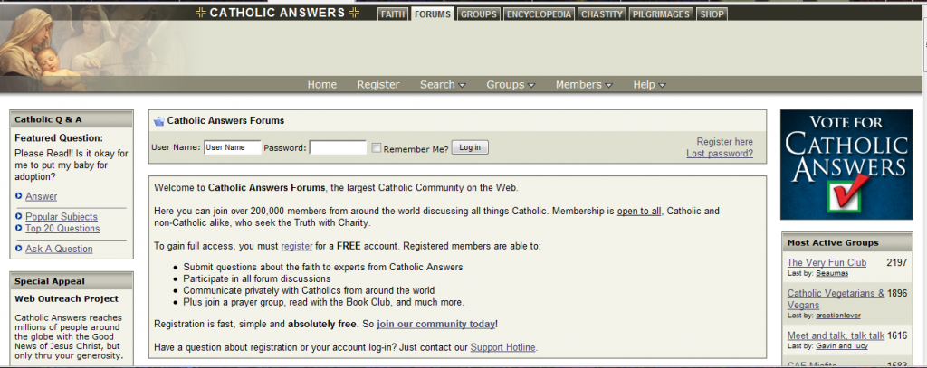 Catholic Answers Forum Screenshot